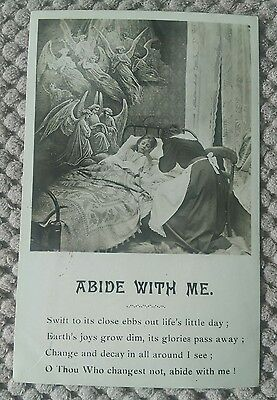 VINTAGE RELIGIOUS POSTCARD. ABIDE WITH ME ONE VERSE