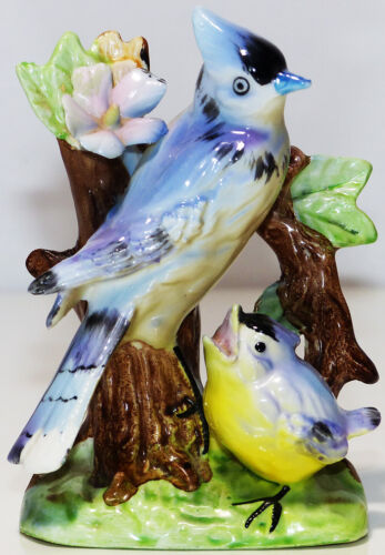 Made-in-Japan Ceramic Bluejay & Chick Figurine + Hand Painted Yellow Birds