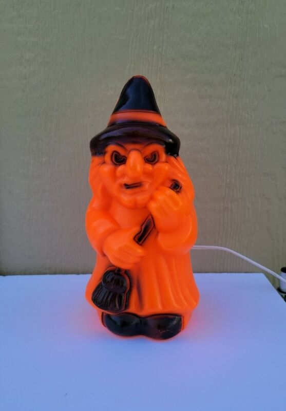 """Vtg Blow Mold Halloween Wicked Witch with Broom 9 1/2"""" Carolina Enterprises 1981"""
