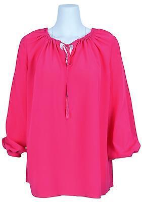 New Saint Laurent YSL 320901 Rose Silk Relaxed Fit Tassel Blouse Shirt 38 6