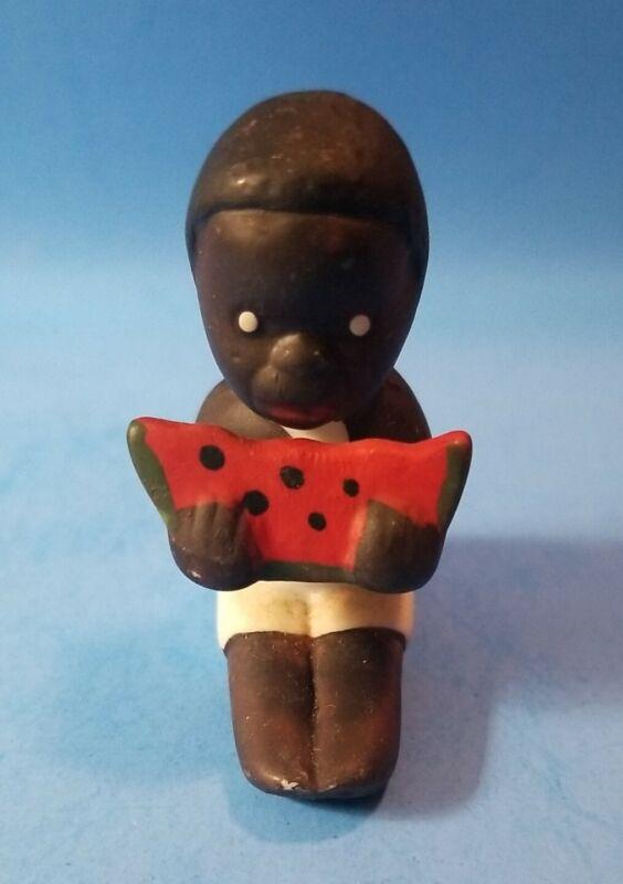 Vintage Black Americana Child Little Boy Eating Watermelon Porcelain Figurine