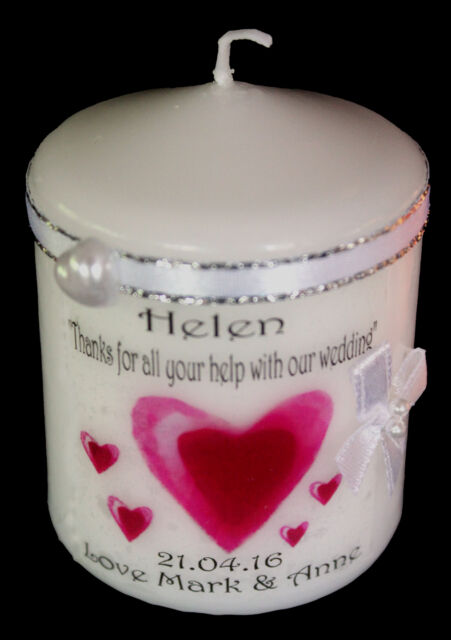 Bridesmaid thank you wedding favour Personalised gift candle