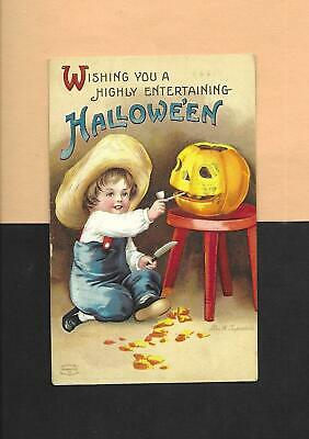 Cute Halloween Postcards (JOL SMOKES PIPE, Cute BOY On A/S CLAPSADDLE Vintage 1911 HALLOWEEN)