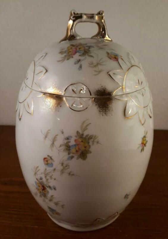 Antique Hand-Painted Porcelain Large Egg Shaped Jar With Lid Gold Trim