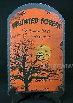 Hand-Painted  Slate Halloween Haunted Forest Sign ()