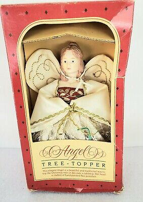 Hallmark Angel Tree Topper Hand Painted Porcelain Head Vintage Christmas 1984