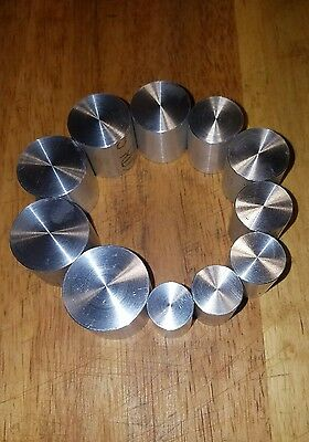 11 SIZES OF COIN RING PUSH RODS FOR SWEDISH WRAP METHOD ( EXTRUSION  DIE )