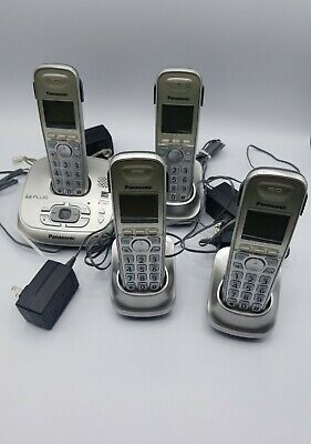 4 Panasonic Handsets Cordless Phones KX-TGA401.Tested Works.Needs new batteries. Panasonic Cordless Battery