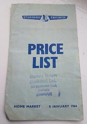 Standard Triumph price list, 8th Jan 1964.