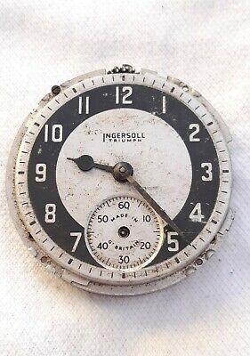 Ingersol Triumph Gents Pocket watch movement *Repair / Ticks*