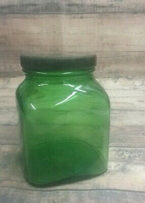 Vintage Owens Illinois Green Glass Jar Green Glass Jar