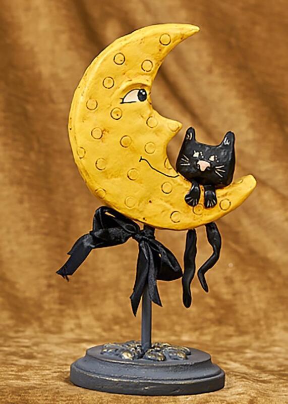 Moon & His Friend - Halloween Black Kitty Figurine by Lexi Grenzer - 72031