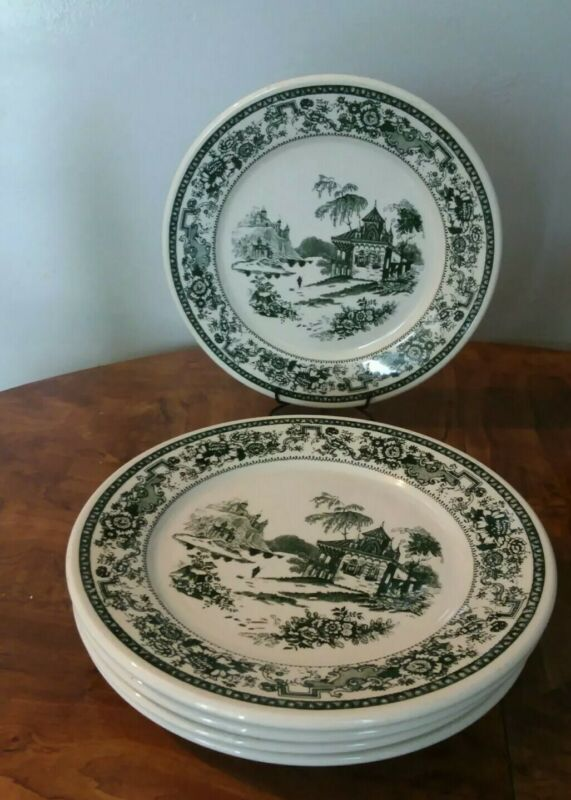 Very Rare Buffalo China  Antique Set of 5 Hunter Green Willow Restaurant Plates