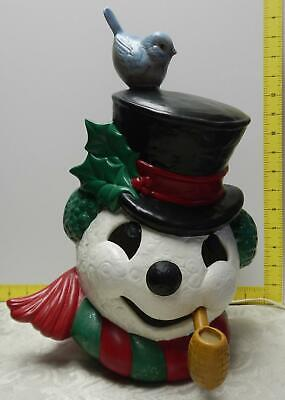 "14"" Hand-Crafted Ceramic Light-Up Snowman With Bluebird~Cord~Top Hat~Scarf~Pipe"
