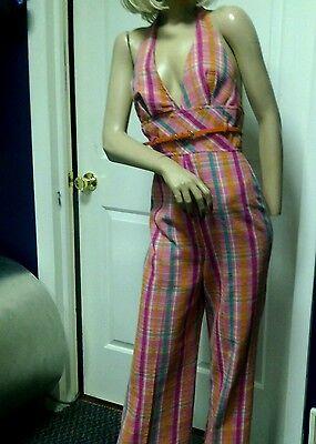 Vintage 60's 70's Jumpsuit Playsuit  Palazzo Pant  Mod  Pink Small