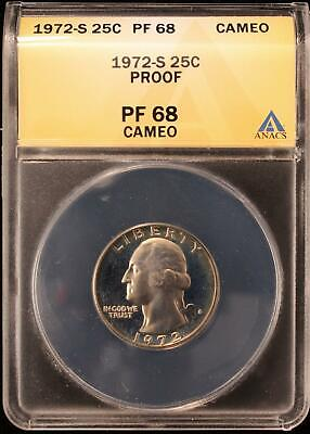 1972-S WASHINGTON PROOF QUARTER ANACS PF68 CAMEO US COIN W233