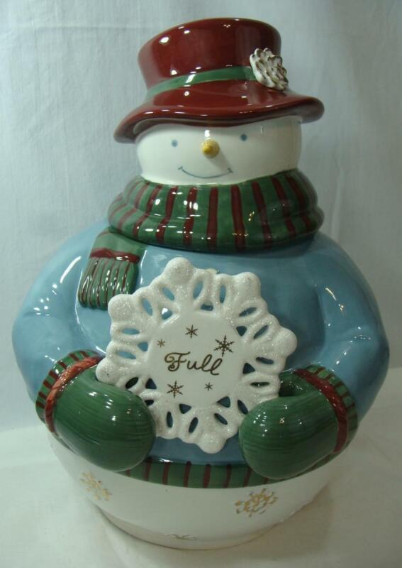 Grasslands Road Christmas Snowman Cookie Jar With Full/Empty Snowflake