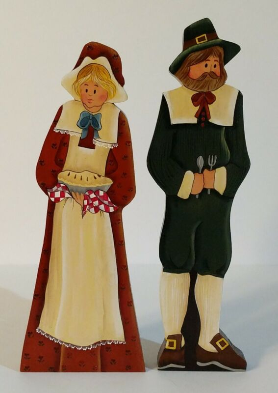 "Handmade Intricately Handpainted (2  Sides) Wood Folk Art Pilgrim Couple ~9.5""T"