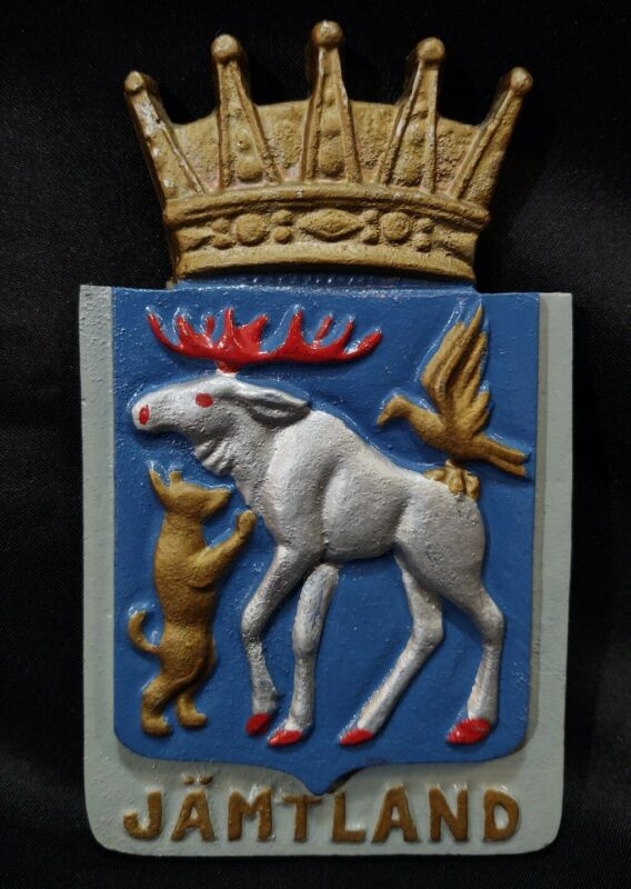 Coat of Arms Metal Aluminum Cast Wall Plaque Vintage Swedish Province Jamtland !