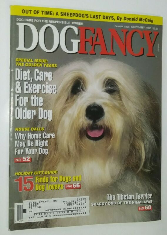 Dog Fancy Tibetan Terrier Cover + Sheep Article by Donald McCraig Nov. 1993