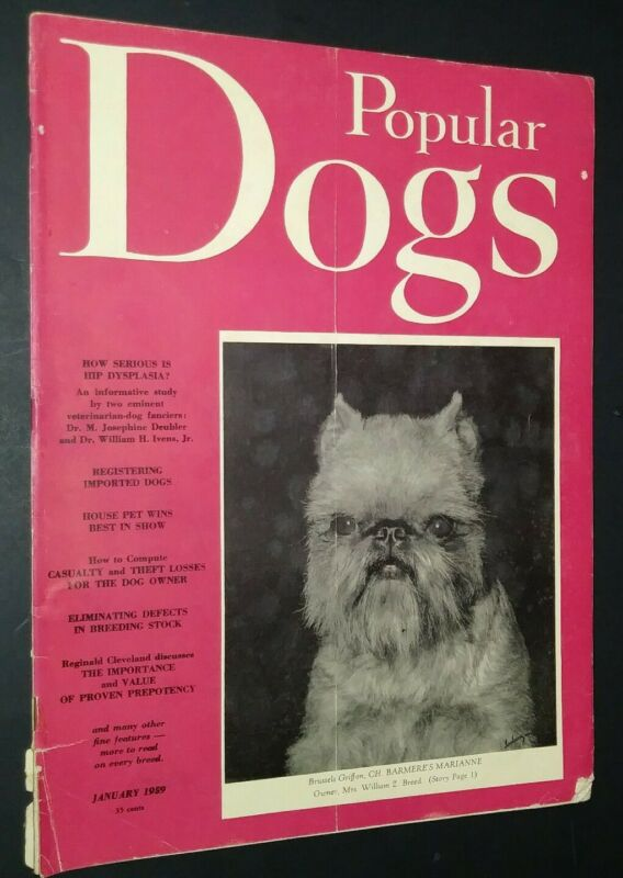 Popular Dogs Magazine Brussels Griffon Cover + Champion Photos Jan 1959
