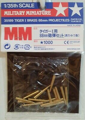 Tamiya 1/35 scale 35189 German Tiger 1 Brass 88mm. projectiles.