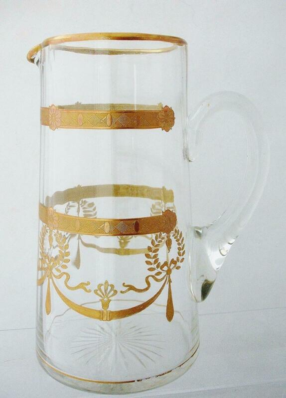Gilt Glass Pitcher with Wreaths and Swags