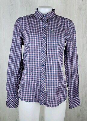Icebreaker Size M Merino Wool Terra Long Sleeve Plaid Shirt Shore/Grapefruit