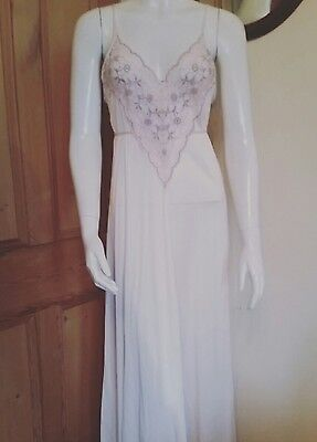 VINTAGE Nylon Pale Pink & Grey Lacy Full Length Long Nightie/ Nightdress- S/M