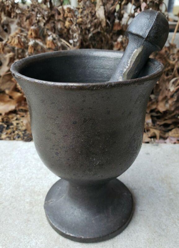 Antique Cast Iron/Bronze Mortar Pestle Primitive Druggist Pharmacists Tool