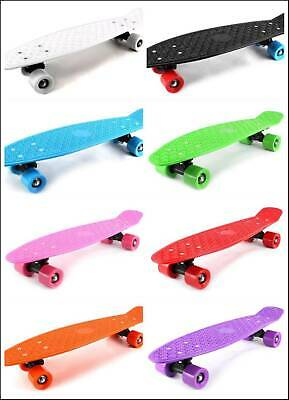 "22"" Complete Plastic Deck Street Skateboard Retro Wave Cruiser Banana Board NEW"
