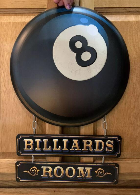 Billiards Room Sign Pool Stick Eight Ball Table Game Room Vintage Style Rack