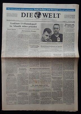 DIE WELT TAGESZEITUNG vom *24. März 1965* (RAUMFAHRT, GEMINI Kapsel) B 146