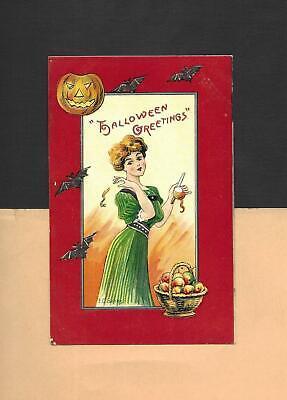 Lovely LADY, JOL, BATS On Spooky A/S BANKS Vintage 1911 HALLOWEEN Postcard