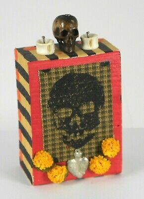 Day of the Dead,Wooden Folk Art,Signed,Dia de los Muertos,Milagro,Skull,Calav Dia De Los Muertos Folk Art