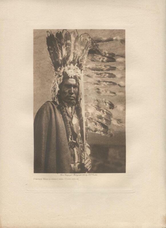 1909 Original Photogravure | Edward Curtis | Piegan War Bonnet and Coup Stick