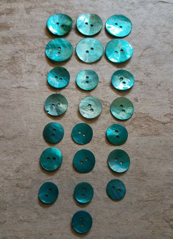 22 Dyed MOP Turquoise Buttons Round 2 hole Thin Vintage Mother of Pearl