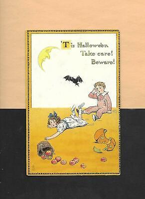 Upset CHILDREN, JOL, BAT On Raphael TUCK Vintage Unused HALLOWEEN Postcard