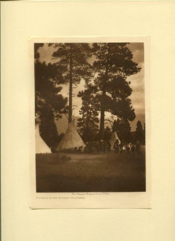 1910 Original Photogravure | Edward Curtis | A Dance In The Forest Flathead