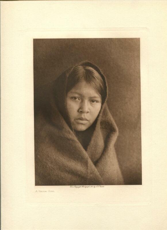 1915 Original Photogravure | Haida Girl | Edward Curtis | 5 1/2 x 7 1/2