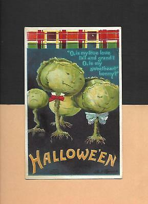CABBAGE PEOPLE On Colorful A/S ELLEN CLAPSADDLE Vintage 1912 HALLOWEEN Postcard - Ellen On Halloween