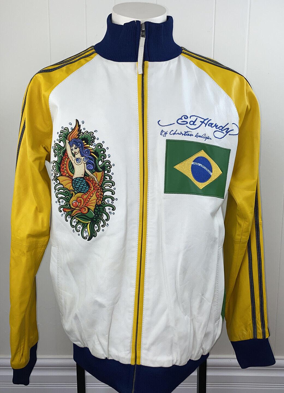 Ed Hardy Christian Audigier Leather Jacket Limited Vintage Death Or Glory Large