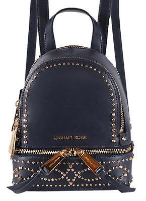 d70bcce532d1 NEW Michael Kors  298 Dark Blue Leather Embellished RHEA MINI XS Backpack  Bag