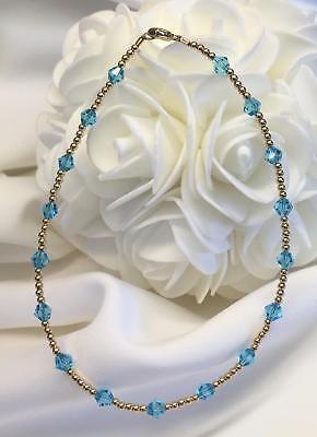Aqua Blue Crystal 14k Gold GF Bracelet (2983) Plus Sizes !