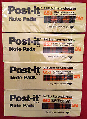 Lot Of 4 Pack653 Post-it 3mnotes1-12 X 2 Incanary Yellowtotal 4800 Sheets