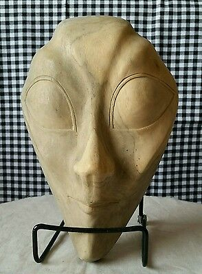 Alien Carved Wood Mask, Halloween Decor, Outer Space Sci Fi Extraterrestrial ET