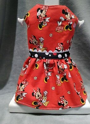 - Adorable MINNIE MOUSE Handmade Dog Dress with Harness for TINY Breed Dogs