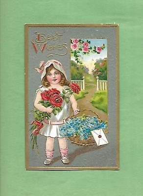 Adorable GIRL HOLDS ROSES, BASKET On Beautiful Vintage Unused BIRTHDAY Postcard