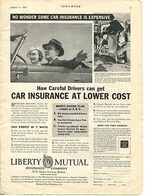 Liberty Mutual Car Insurance - General Electric - ads from Newsweek Jan. 9, 1937