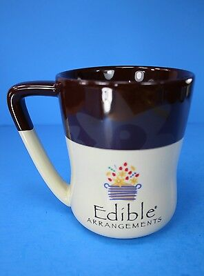 Edible Arrangements Brown   Cream Color Large 16 Oz Coffee Mug Cup With Daisies